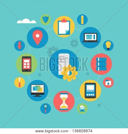 Flat icons design for server computing and data base