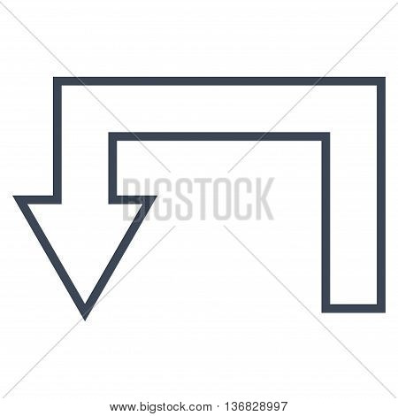 Return Arrow vector icon. Style is stroke icon symbol, smooth blue color, white background.