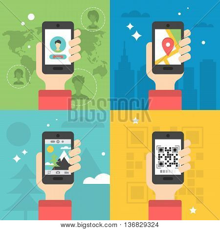 Flat icon design for various mobile phone applications: global communication scanning QR code photography and navigation