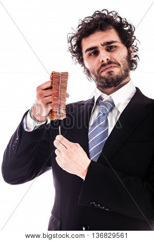 Businessman Lighting Red Firecrackers