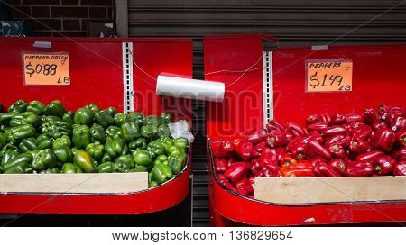 Red and green peppers at Chinatown fruit market in New York City
