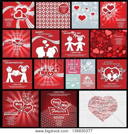 COLLECTION HAPPY VALENTINE'S DAY BACKGROUND HEART BOY GIRLS AND LOVE