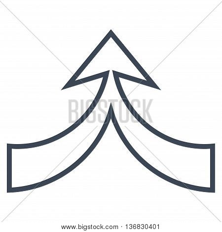 Unite Arrow Up vector icon. Style is thin line icon symbol, smooth blue color, white background.
