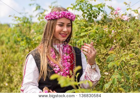 Bulgarian girl dressed in traditional dress picking roses during the Annual Rose Festival in Kazanlak Bulgaria