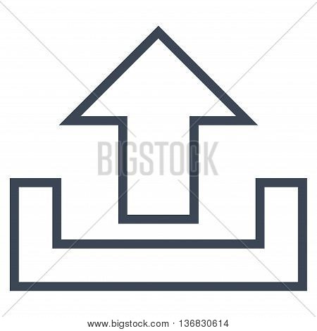 Upload vector icon. Style is thin line icon symbol, smooth blue color, white background.