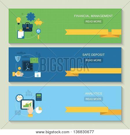 Website header design for online banking financial management safe deposit and analytics