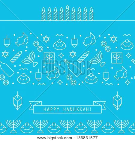 Hanukkah holiday design elements with flat line icons