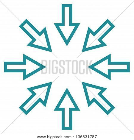 Compact Arrows vector icon. Style is outline icon symbol, soft blue color, white background.