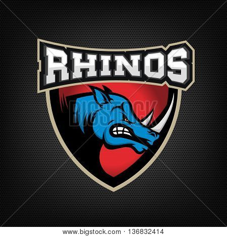 head of Angry rhino on dark dotted background. Sport team or club emblem template. Design element for logo label sign badge. Vector illustration.