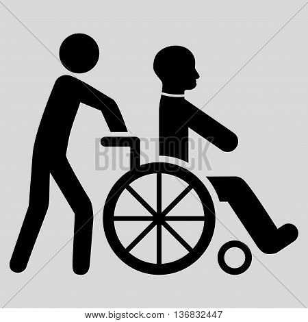 Disabled Person Transportation vector icon. Style is flat icon symbol with rounded angles, black color, light gray background.