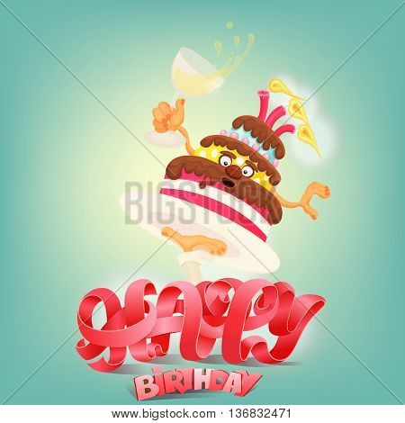 Happy Birthday concept card with cake character. Vector illustration