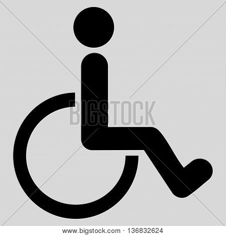 Disabled Person vector icon. Style is flat icon symbol with rounded angles, black color, light gray background.