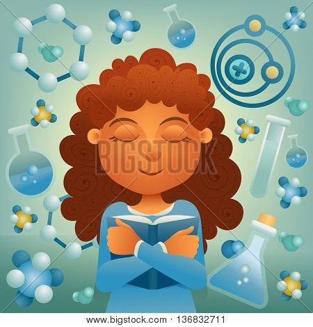 Brunette student girl with book. Chemistry concept illustration