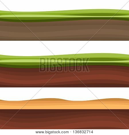 Layers of grass with Underground layers eps10