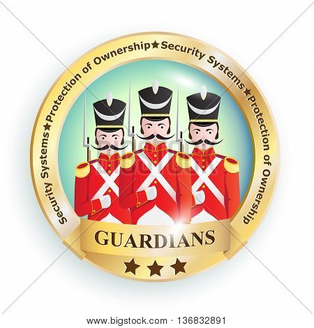 Sign emblem logo image with creative characters of soldiers of the old army of the 19th century in red uniforms with guns with business slogans symbolizing a company organization company or enterprise.