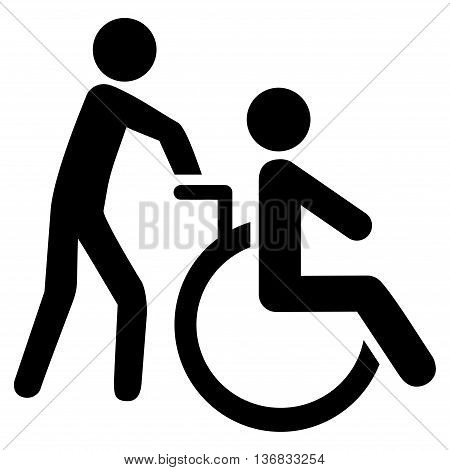 Disabled Person Transportation vector icon. Style is flat icon symbol with rounded angles, black color, white background.
