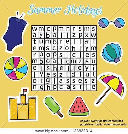 Word search puzzle. Find words children educational game. Learning vocabulary