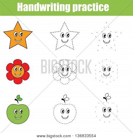 Handwriting practice sheet. Educational children game. Writing training. Connect the dots restore the dashed line vector illustration printable worksheet