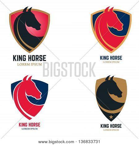 Set of logo templates with horse head. King horse sign on shield shape. Design element for logo label sign badge. Vector illustration.
