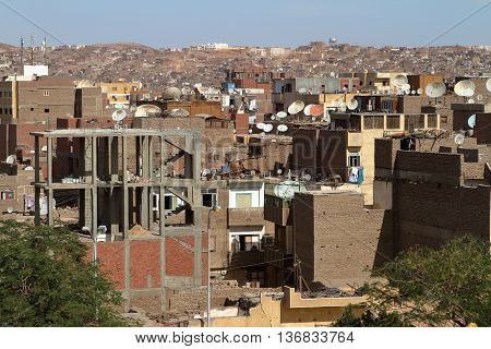 Houses of the city of Aswan in Egypt