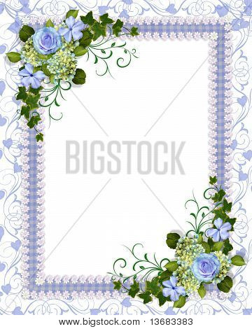 Wedding invitation background blue floral Stock photo