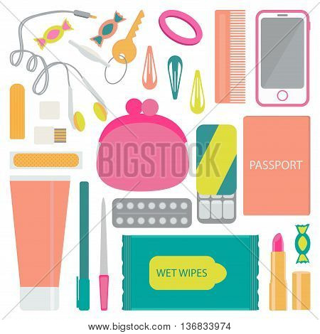 Headphones, candy, a purse, hair scrunchies, hair pins, comb, cell phone, hygiene pad, flash card, adhesive tape, gum, pain reliever, nail file, ballpoint pen, lipstick, passport, hand cream. Vector illustration.