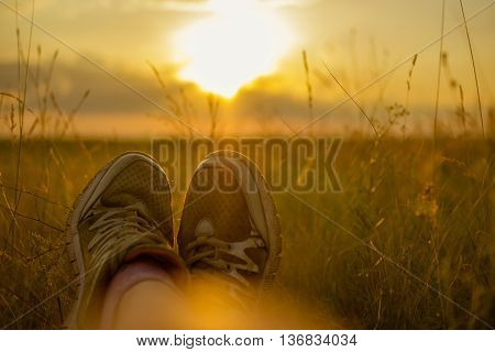 Traveller feet in sneakers at sunset in a field girl in sneakers on the background of sunlight shoes in the grass