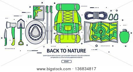 Travel, Hiking Background.Line art. Mountain Climbing.International Tourism, Trip to Nature, World Journey.Summer Holidays, Camping.Exploring and Discovering Adventure, Worldwide Trekking Expedition Map
