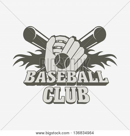 Baseball Logo, Badge Or Label Design Template With Baseball Ball,   Glove And Two Bats