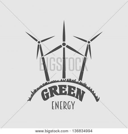 Green Energy Vector Logo, Sign Or Symbol Template With Wind Power Plant Illustration. Wind Farm Silh
