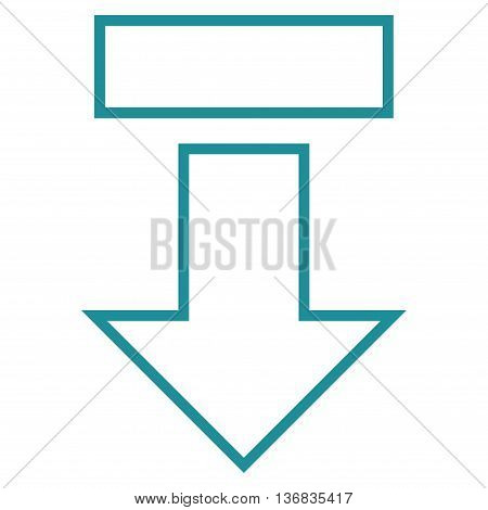 Pull Arrow Down vector icon. Style is thin line icon symbol, soft blue color, white background.