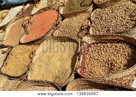 Spices at the Spice Market of Aswan in Egypt