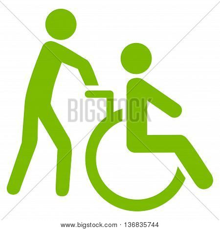 Disabled Person Transportation vector icon. Style is flat icon symbol with rounded angles, eco green color, white background.