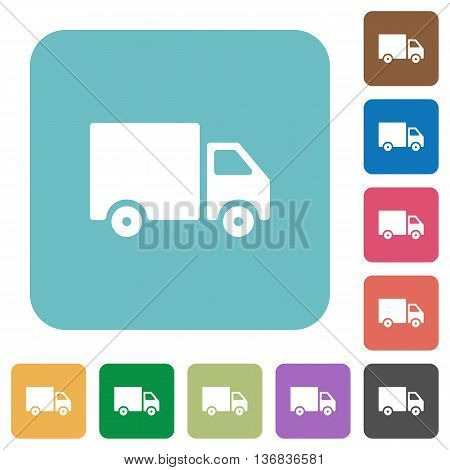 Flat delivery icon set on round color background.