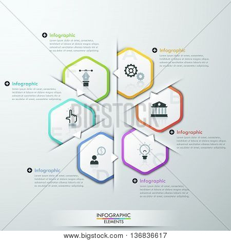 Vector Infographic cycle template made from paper rectangles, flat book and icons. Can be used for web design, brochure, presentations and workflow layout