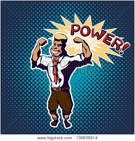 Strong man standing in the bodybuilder pose. Pop art poster comic style. Vector illustration 10 EPS