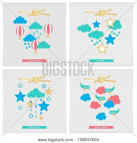 Baby shower invitation template. Illustration of baby mobile: stars clouds airplanes and balloons. Isolated baby mobile for scrap booking cards baby shower. Vector baby mobile set.
