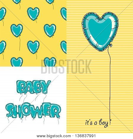 Adorable baby shower set. Baby shower invitation. Vector seamless pattern for baby shower card design. Vector seamless kids pattern. Cute balloon baby shower pattern.
