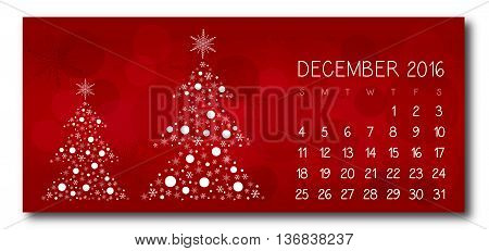 December 2016 christmas red calendar vector text is outline version 10