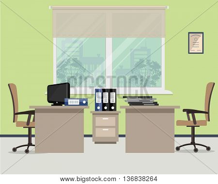 Workplace for two office workers. Vector flat illustration. On the picture the tables, a chairs, the  computer,  folders and other objects in beige colors are situated on a window background