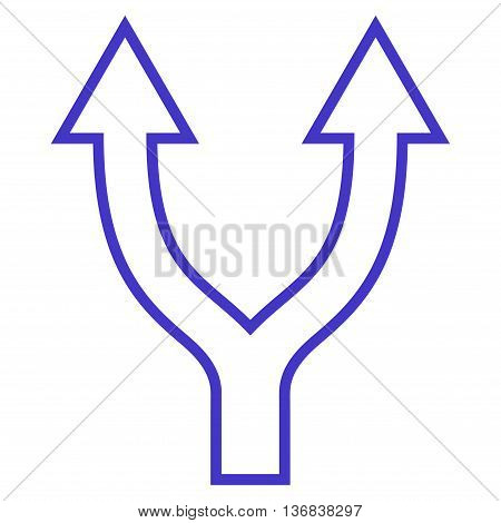 Bifurcation Arrow Up vector icon. Style is thin line icon symbol, violet color, white background.