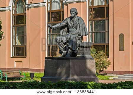 Monument to the famous Russian writer Ivan Sergeyevich Turgenev on Manezh square in Saint-Petersburg.
