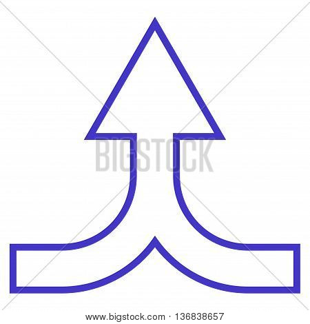 Combine Arrow Up vector icon. Style is stroke icon symbol, violet color, white background.