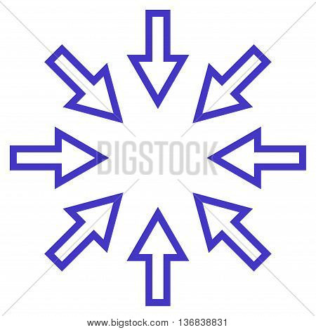 Compact Arrows vector icon. Style is contour icon symbol, violet color, white background.