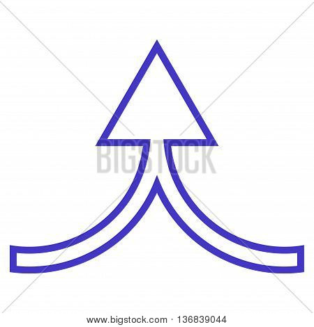Connect Arrow Up vector icon. Style is thin line icon symbol, violet color, white background.