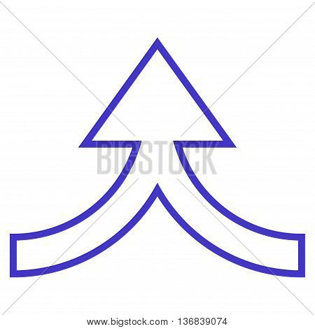 Connection Arrow Up vector icon. Style is contour icon symbol, violet color, white background.