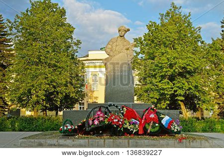 VELIKY NOVGOROD RUSSIA - JUNE 22 2016. War monument to Leonid Golikov 16 year old Russian partisan in World War II.