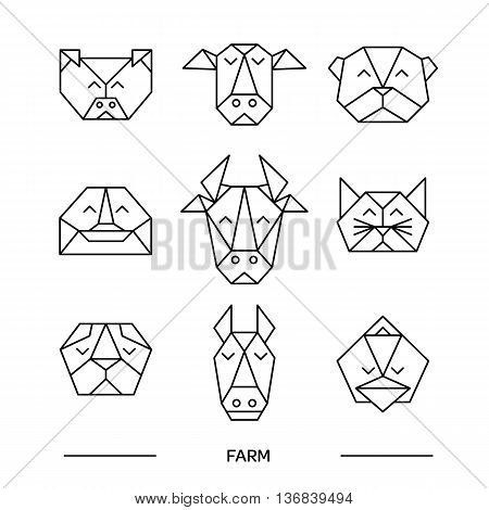 Origami vector animals set. Animal triangle heads. Vector origami animals. Geometric line design icon set. Vector origami animals for tattoo or coloring book. Vector origami farm animals collection.