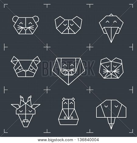 Front view animal heads. Animal triangle icons. Vector polygonal animals. Geometric line design icons. Vector polygonal animals for tattoo. Jungle animals collection.