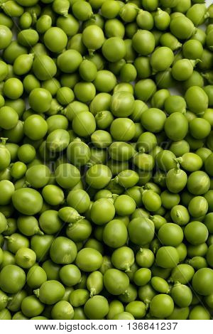 Fresh green peas background on close up